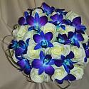 White Rose with Blue Dendrodium Orchids