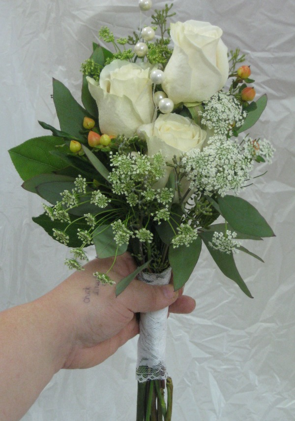 3 white rose bridesmaid bouquet