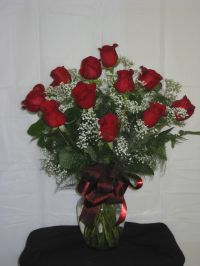 Dozen Roses Arranged