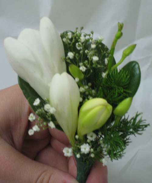 White Freecia boutiniere with baby's breath 19