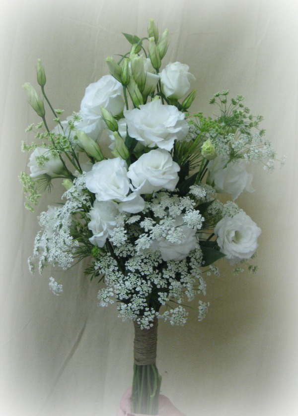 Lisianthus and Queen Anne's Lace Bouquet