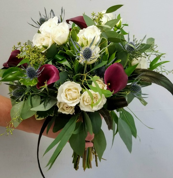 White Rose and Burgundy Calla Bouquet