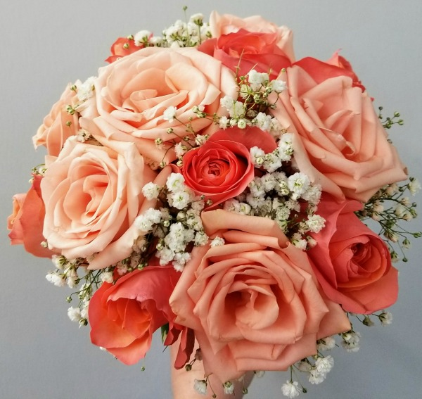 Peach and Coral Rose Bouquet