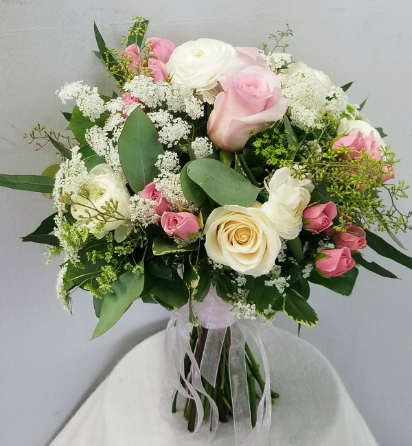 Pink and White Vintage Rose Bouquet