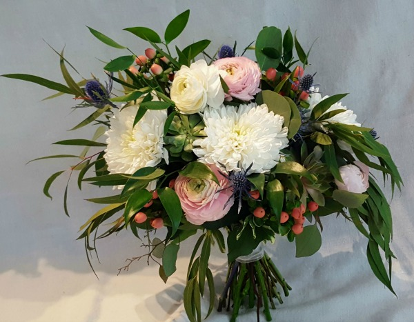 White and Pink with Succulent Bouquet